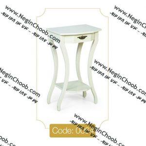 میز تلفن تک کشو سفید مدل 0064 نگین چوب صفحه MDF پایه چوب تمام رنگی
