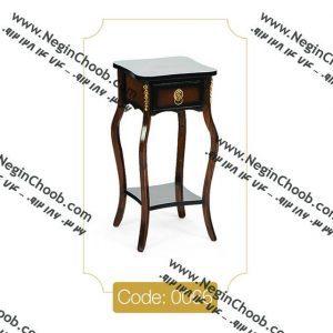 خرید میز تلفن چوبی تک کشو مربع مدل 0066 نگین چوب صفحه MDF پایه چوب تمام رنگی