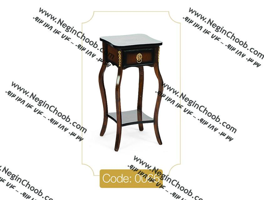 میز تلفن تک کشو مربع مدل 0066 نگین چوب صفحه MDF پایه چوب تمام رنگی