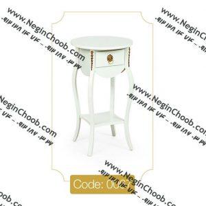 میز تلفن تک کشو گرد کوچک مدل 0067 صفحه MDF پایه چوب تمام رنگی