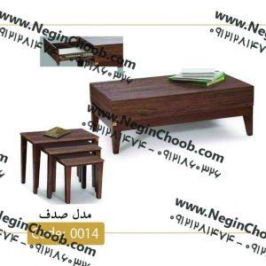جلومبلی و عسلی صدف مدل 0014 نگین چوب صفحه MDF وکیوم پایه چوب رنگی