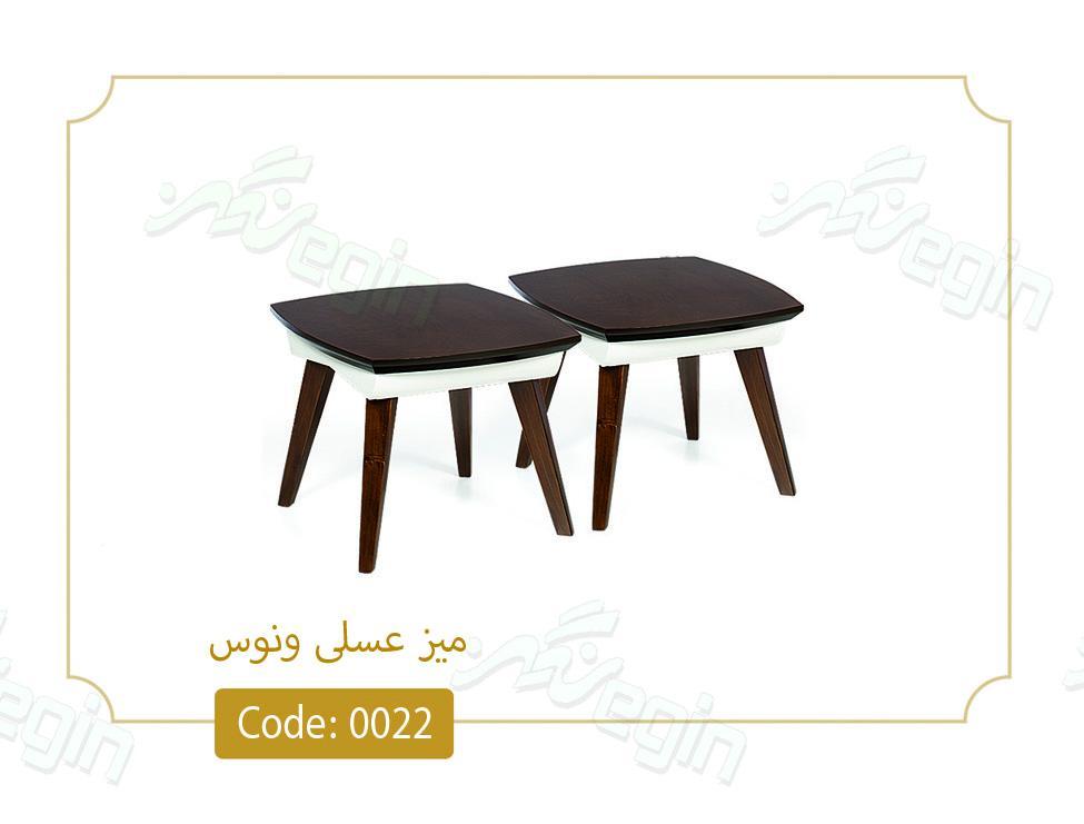 میز عسلی ونوس کد 0022 صفحه ام دی اف پایه چوب رنگی