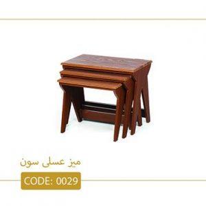 میز عسلی سون کد 0029 صفحه ام دی اف وکیوم پایه رنگ