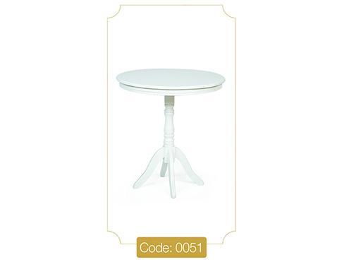 میز خاطره گرد سفید مدل 0051 صفحه ام دی اف پایه چوب