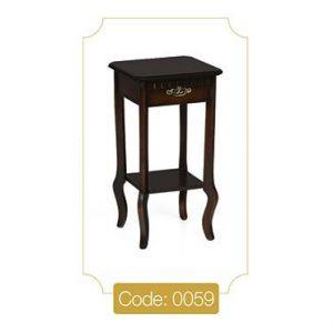 میز گرامافون کوچک قهوهای مدل 0059 صفحه ام دی اف پایه چوب