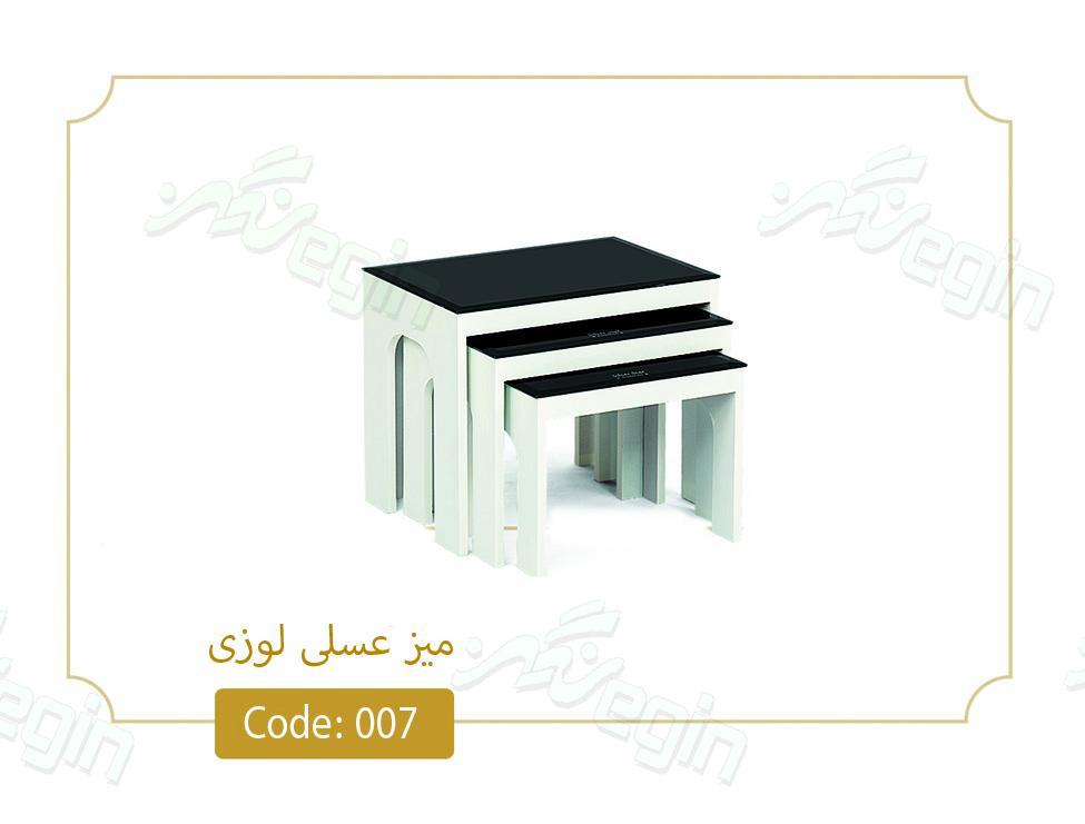 میز عسلی لوزی کد 007 صفحه شیشه سکوریت بدنه MDF رنگی
