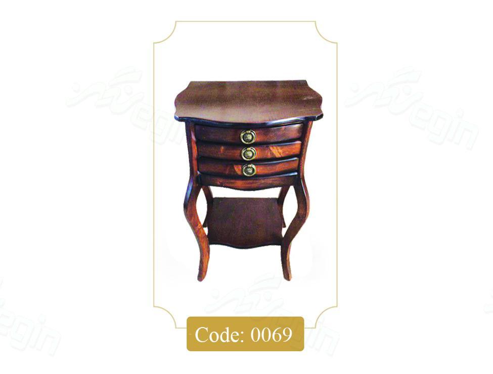 میز تلفن سه کشو پشت صاف مدل 0069 صفحه MDF پایه چوب