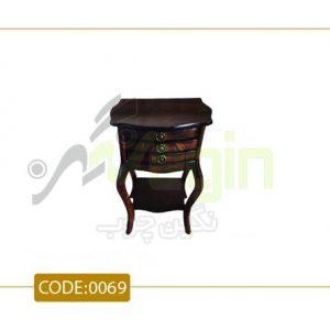 میز تلفن سه کشو پشت صاف مدل 0068 صفحه MDF پایه چوب