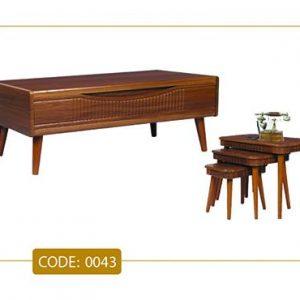 جلو مبلی و عسلی رویسا مدل 0043 صفحه MDF وکیوم پایه چوب