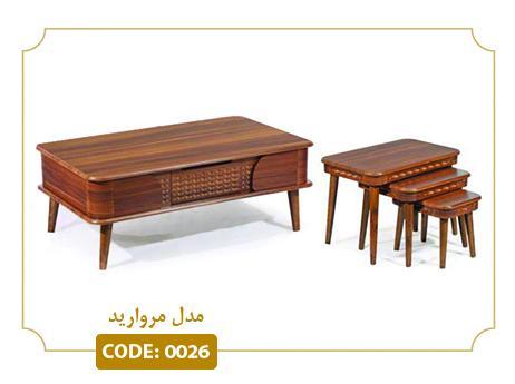 جلو مبلی و عسلی مروارید مدل 0026 صفحه MDF وکیوم پایه چوب