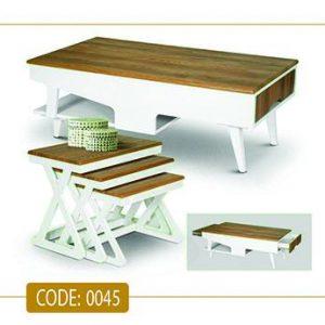 جلو مبلی و عسلی نینا مدل 0045 صفحه MDF وکیوم پایه چوب