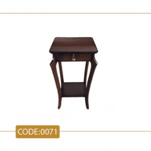 میز تلفن عصایی مدل 0071 تک کشو پایه چوب تمام رنگی