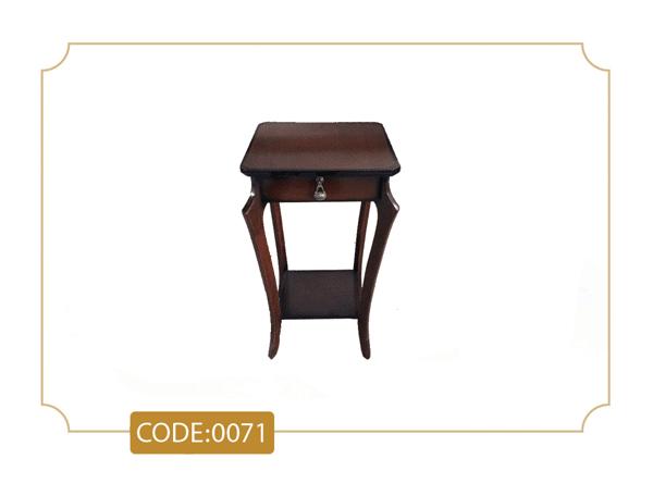 خرید میز تلفن عصایی مدل 0071 تک کشو پایه چوب تمام رنگی