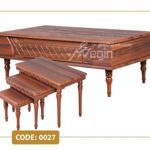جلومبلی و عسلی الماس مدل 0027 صفحه MDF وکیوم پایه چوب