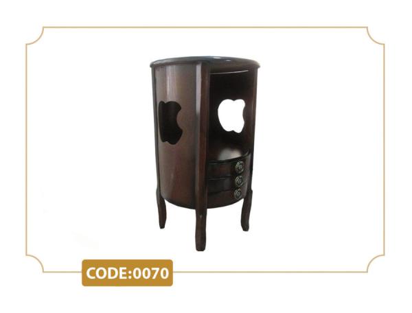 میز تلفن سه کشو اپل مدل 0070 پایه چوب