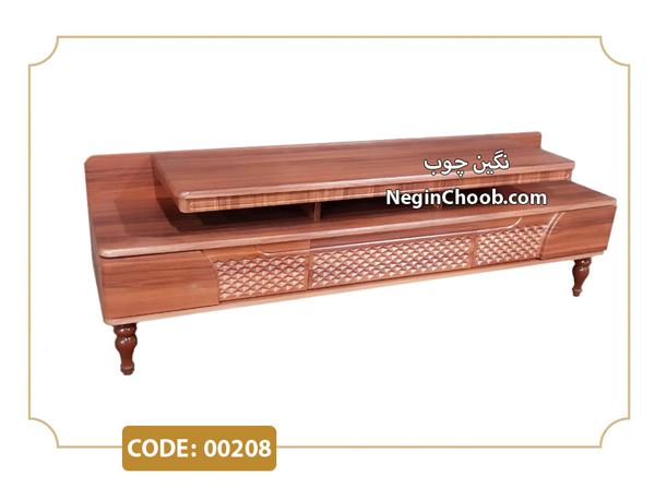 میز تلویزیون آرامیس مدل 00208 ام دی اف وکیوم پایه چوب