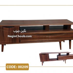 میز تلویزیون رویسا مدل 00209 ام دی اف وکیوم پایه چوب