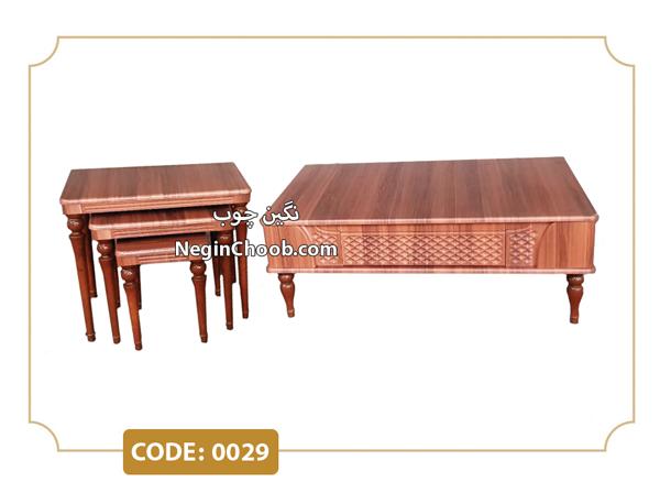 خرید جلومبلی و عسلی آرامیس مدل 0029 تمام MDF وکیوم پایه چوب راش