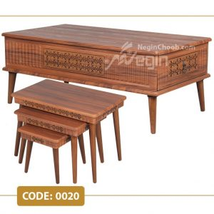 جلومبلی و عسلی هیدا مدل 0020 صفحه MDF وکیوم پایه چوب