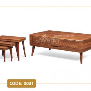 جلومبلی و عسلی دیانا مدل 0034 صفحه MDF وکیوم پایه چوب
