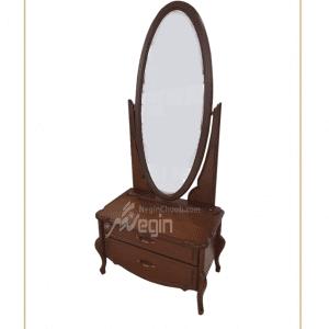 آینه و کنسول دو کشو بدنه ام دی اف با روکش راش و پایه چوبی