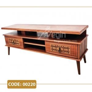 میز تلویزیون هیدا مدل 00220 ام دی اف وکیوم پایه چوب