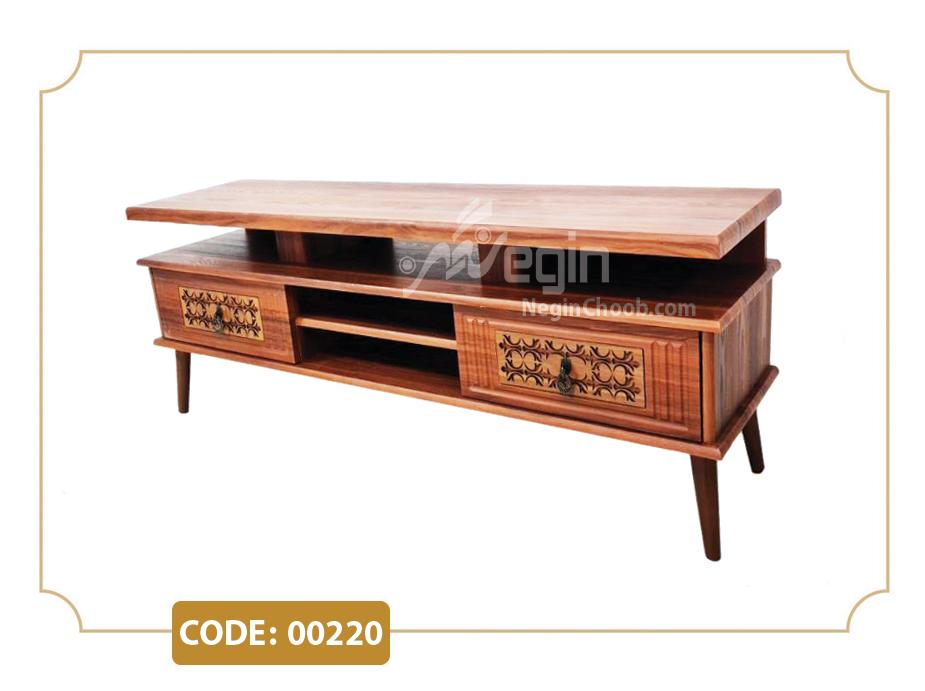 خرید میز تلویزیون هیدا مدل 00220 ام دی اف وکیوم پایه چوب