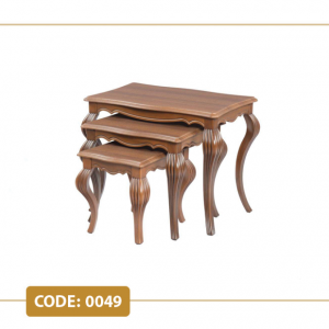 میز عسلی کلاسیک کد 0049 صفحه ام دی اف وکیوم پایه پلیمری