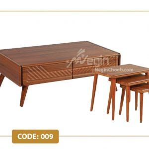 جلومبلی و عسلی آمتیس مدل 009 صفحه MDF وکیوم پایه چوب