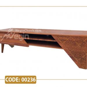 میز تلویزیون کژال مدل 00236 ام دی اف وکیوم پایه پلیمری