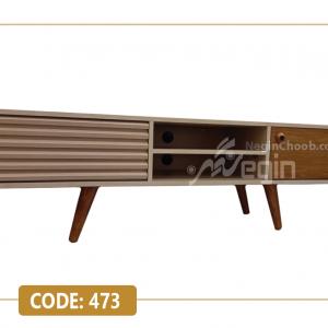میز تلویزیون مدل 473 بدنه ام دی اف وکیوم پایه چوب