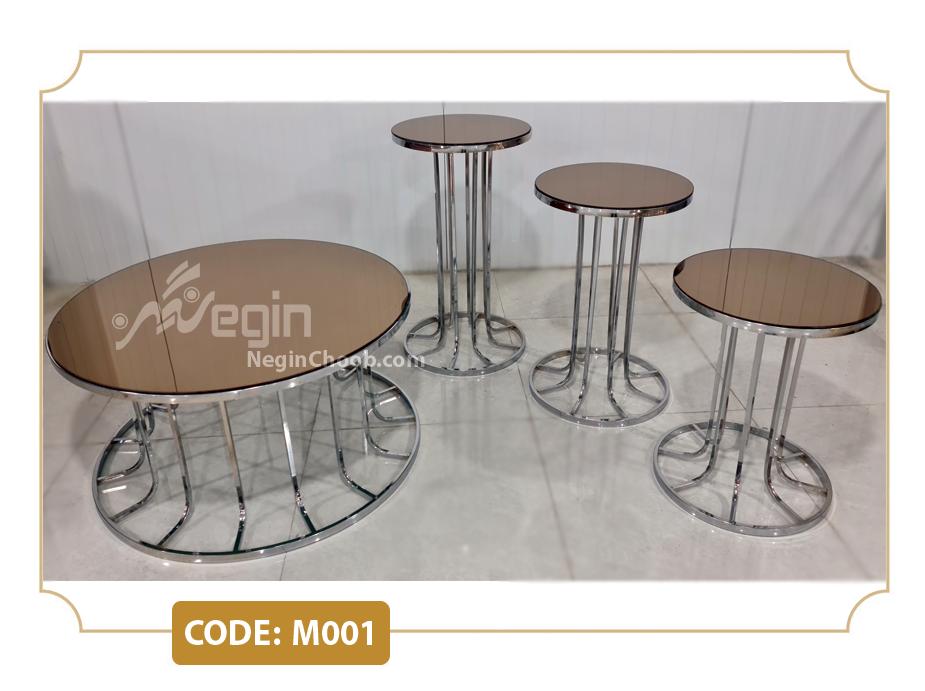 میز جلومبلی پایه فلزی ستونی نقره ای