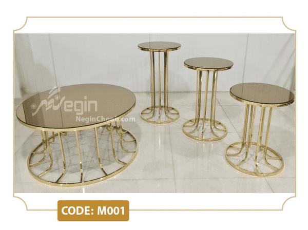 میز جلومبلی پایه فلزی ستونی طلایی
