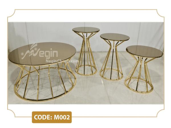 میز جلومبلی پایه فلزی خورشیدی کد M002 طلایی،نقره ای و فورتیک