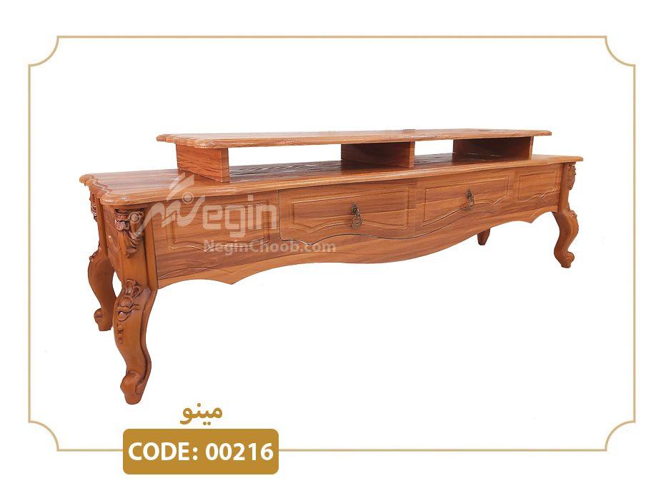 میز تلویزیون مینو مدل 00216 ام دی اف وکیوم پایه پلیمری