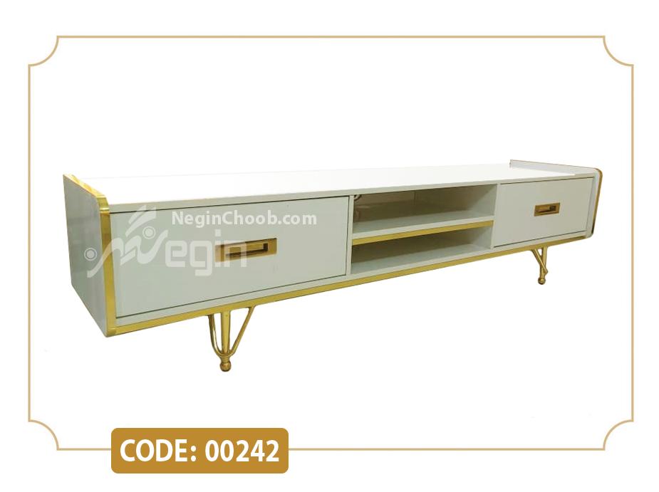 میز تلویزیون هایگلاس مدل 00242 ام دی اف پایه فلزی آبکاری فورتیک