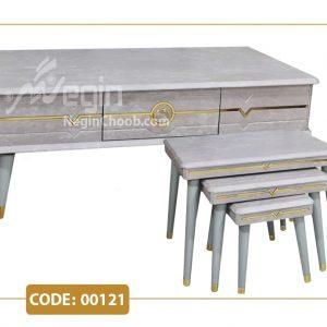 جلومبلی و عسلی ماکان مدل 00121 صفحه MDF وکیوم پایه پلیمری