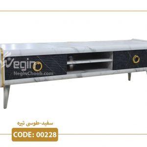 میز تلویزیون لوکا سفید تیره مدل 00228 ام دی اف وکیوم پایه پلیمری