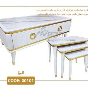 جلومبلی و عسلی الیزا سفید مدل 00101 صفحه MDF وکیوم پایه پلیمری