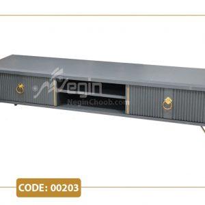 میز تلویزیون مدل 00203 بدنه MDF وکیوم پایه فلزی طلایی
