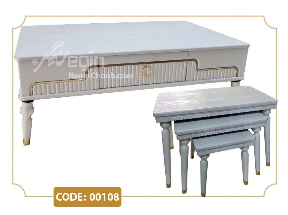 جلومبلی و عسلی مدل 00108 صفحه MDF وکیوم پایه پلیمری (ABS)