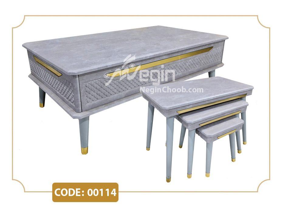 فروش عمده میز جلو مبلی و عسلی ارزان قیمت جلومبلی و عسلی مدل 00114 صفحه MDF وکیوم پایه پلیمری (ABS)