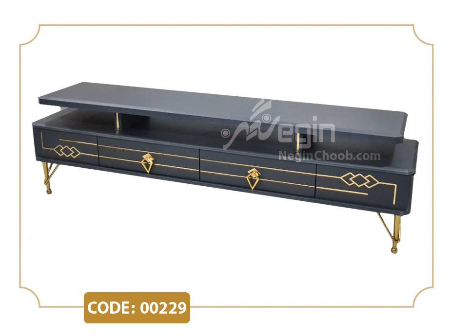 میز تلویزیون مدل 00229 بدنه MDF وکیوم پایه فلزی طلایی فورتیک